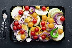 Black baking dish for zucchini