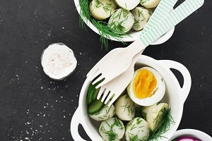 Potato salad with dill and boiled