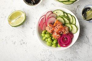 Fresh seafood recipe. Shrimp salmon