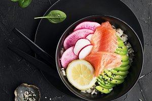 Fresh seafood meal. Poke gravlax