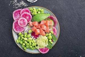Poke bowl of salmon, seafood, rice