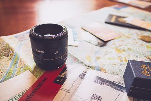 Camera Lens on Travel Map