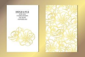 Golden Sakura Card Template