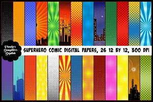 Superhero Comic Pop Art Papers