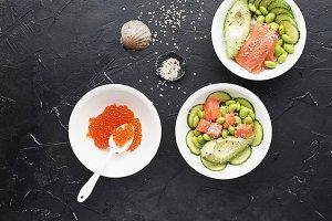 Fresh seafood recipe. Salmon and