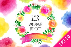 Watercolor Floral Elements Bundle