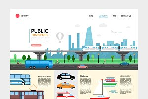 Flat city transport landing page