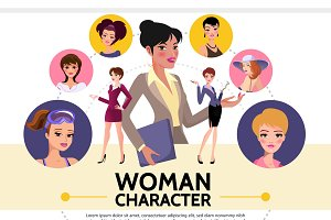 Flat woman characters avatars set
