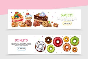 Cartoon sweet products banners
