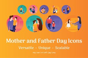 60 Mother and Father Day Flat Icons
