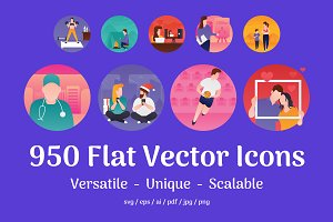 950 Flat Vector Icons