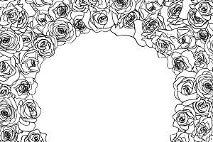 Outline rosebuds in round frame
