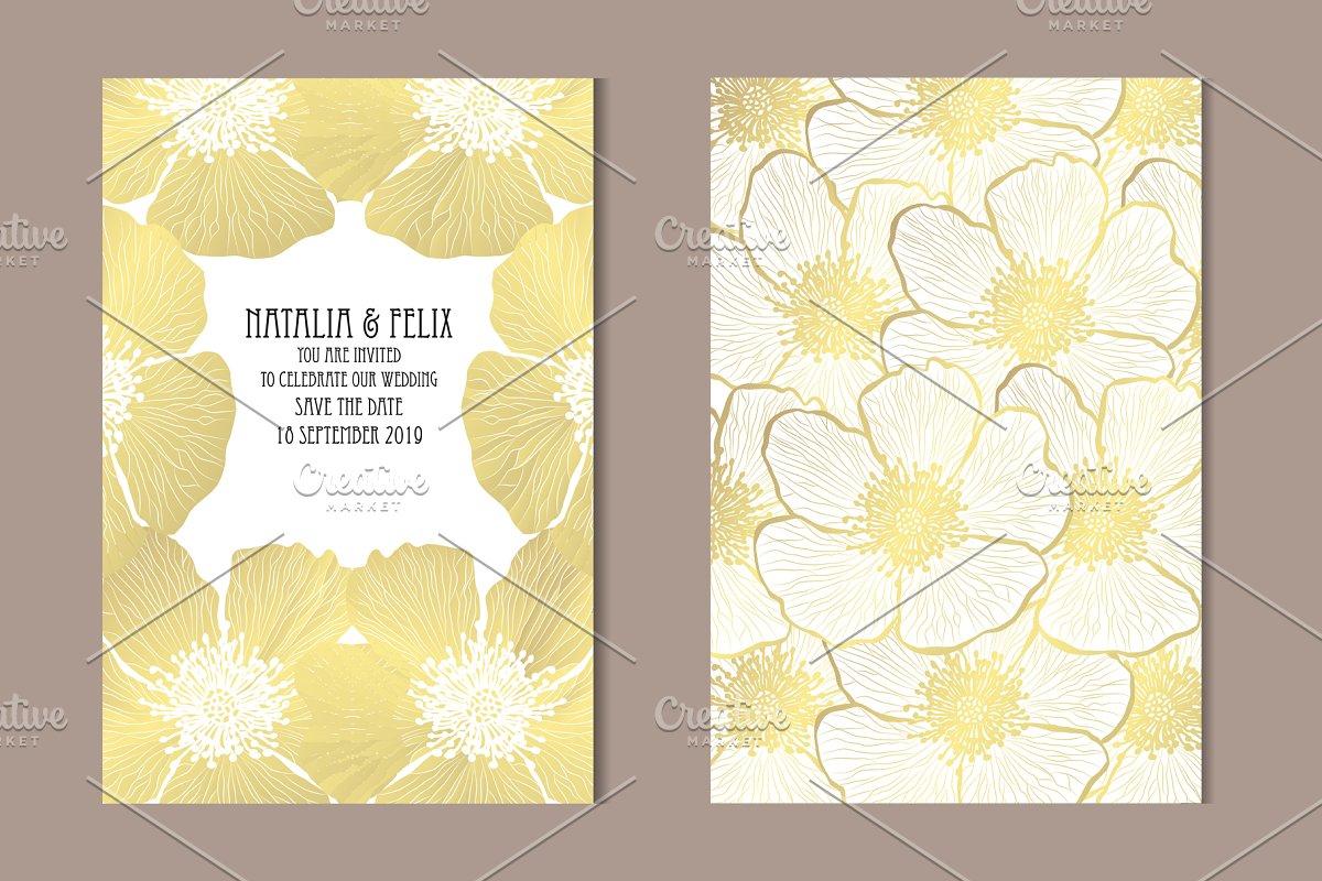 Golden Dog Rose Card Template