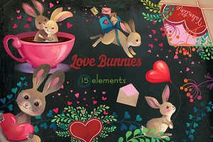 Cute Bunny Love clipart