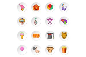 Circus icons, cartoon style
