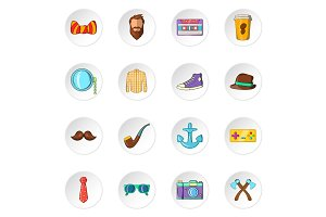 Hipster icons, cartoon style