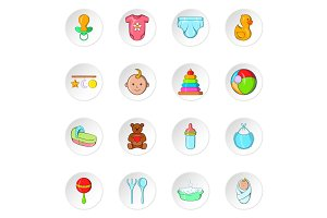 Baby care icons, cartoon style