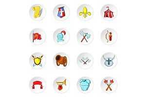 Knight icons, cartoon style