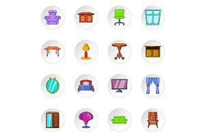 Furniture icons, cartoon style