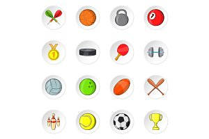 Sport equipment icons, cartoon style