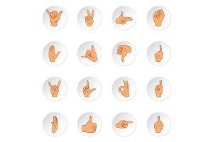 Hand gesture icons, cartoon style