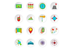 Navigation icons, cartoon style