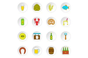 Beer icons set, flat style
