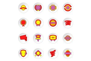 Label and ribbon icons set, flat