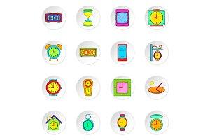 Clock icons set, flat style