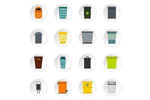 Trash can and recycle bin icons set