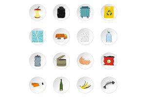 Garbage icons set, flat style