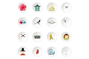 South Korea icons set, flat style