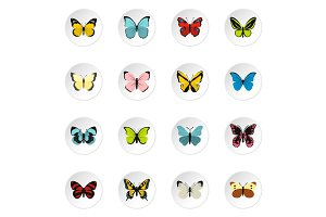 Butterfly icons set, flat style