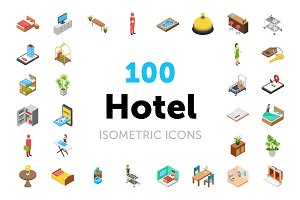 100 Hotel Isometric Icons Pack