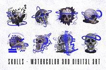 Skulls - watercolor and digital art