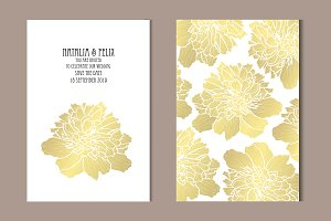 Golden Peony Card Template