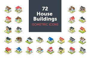 72 House Buildings Isometric Icons