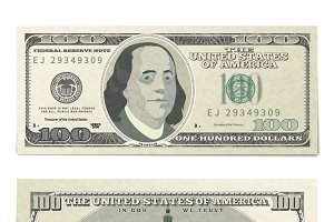 Front and back 100 dollars banknote