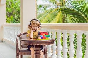 boy in tropics talking with friends