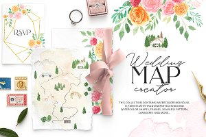 Watercolour Wedding map creator kit