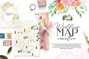 Watercolour Wedding map creator kit