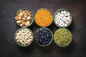 Legumes, lentils, chikpea and beans