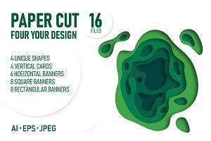 Green paper cut banners