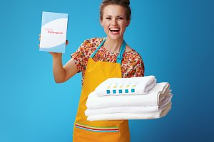 smiling woman with white linen showi