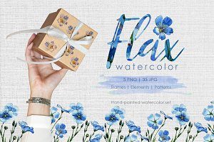 Flax blue Watercolor png