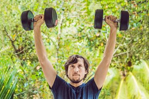 Bicep curl - weight training fitness