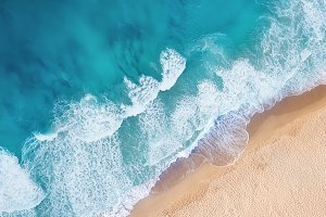 Beach and waves from top view