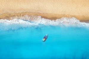 Seashore and boat from top view