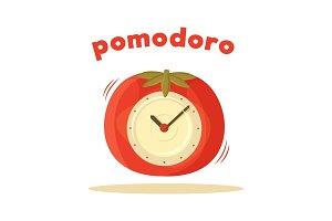 Pomodoro Clock Card Colored Vector