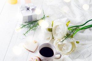 romantic breakfast in bed. Coffee